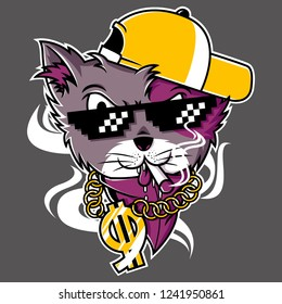cool hip hop cat with hat, cigarette, glasses, and gold chain necklace