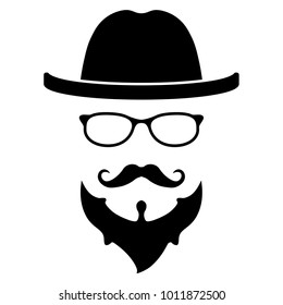 Cool hipster face vector icon isolated on white background