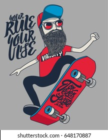 cool hipster skater vector design with skateboard