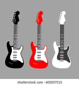 cool horizontal electric Guitar playing on flat design style. Rock music vector in a red black & white colors. rock & roll icons. beautiful instruments on a dark gray background illustration