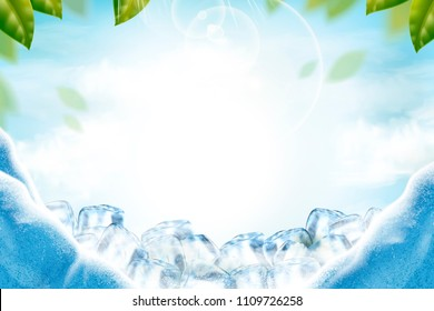 Cool ice background with green leaves and sunbeams in 3d illustration