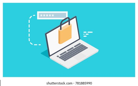 Cool icon of access user account, authorization login with password, laptop and lock - data security isometric vector illustration
