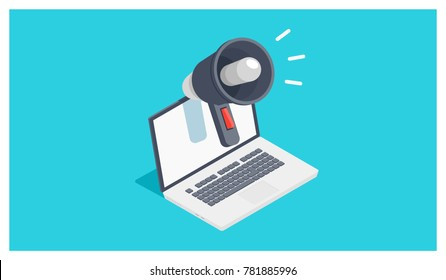 Cool icon of digital internet advertising and promotion, laptop with megaphone isometric vector illustration