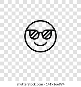 cool icon from emoticons collection for mobile concept and web apps icon. Transparent outline, thin line cool icon for website design and mobile, app development
