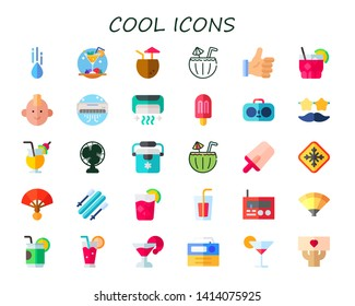 cool icon set. 30 flat cool icons.  Collection Of - raindrop, cocktail, thumbs up, punk, air conditioner, popsicle, radio, sunglasses, Cocktail, fan, freezer, frost, skii, cocktails