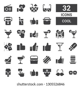 cool icon set. Collection of 32 filled cool icons included Eye glasses, Glasses, Fans, Like, Popsicle, Water dispenser, Skii, Ice box, Cocktail, Ice bucket, Thumbs up, Ice, Waterfall