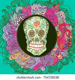 Cool illustration with Skull and floral ornament in bright colors. Fashion sugar skull.