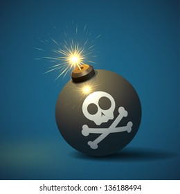 Cool image of a round black bomb with a burning fuse and a jolly roger image. EPS10 vector.