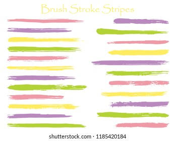 Cool ink purple brush stroke stripes vector set, horizontal marker or paintbrush lines patch. Hand drawn watercolor paint brushes, smudge strokes collection. Interior colors scheme swatches.