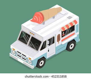 cool isometric ice cream van vector illustration colorful