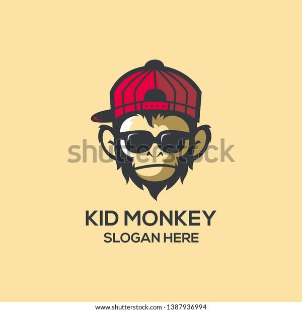 Cool Kid Monkey Logo Ideas Stock Vector Royalty Free