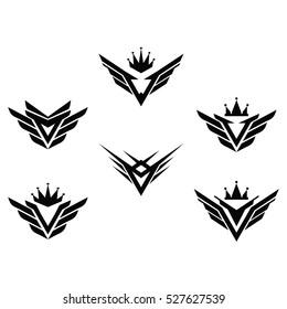 Cool King Eagle Wings Logo Symbol Template