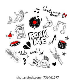 cool large set of retro 90s style funny teen rock drawings:goth, metal accessories, old radio, music plate, notes etc.vector girlish illustration for patches, t shirt prints, stamps, applique, covers