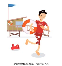 Cool lifeguard to the rescue with a lifeline. He threw the speaker and runs. In the background spasatelya tower. vector illustration in a flat style