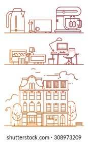 Cool linear flat design decorative elements on everyday city life with downtown street apartment buildings, interior icons and kitchen items | Living in the city thin line web icons