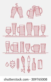 Cool linear halftone artisan craft brewery beer icons. Thin line beer glasses, can, bottle, bar tap, hops, barley and water symbols. Ideal for bar, pub, restaurant menu and craft beer shop branding