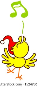 Cool little yellow bird with red Santa hat while extending its wings, raising its head, standing on one leg and cheeping harmoniously to celebrate Christmas