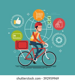 Cool local shipping logistics service in business and industry vector background. Courier person character riding delivery bicycle. Bicycle delivery service. Local city multipurpose mail delivery