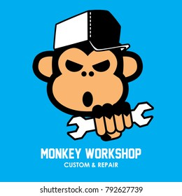 cool Logo for repair workshop in modern vector style. Use monkey vector as mascot. Working tools - open-end, adjustable wrench.