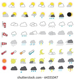 Cool Looking Weather Forecasting Vector Icon Set