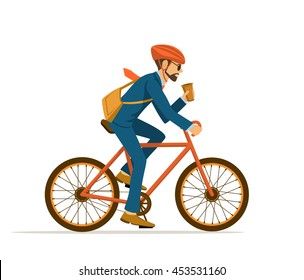 Cool Male Businessman  riding bicycle to office, drinking coffee on the way. Eco friendly trendy city bike to work. Isolated