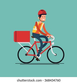 Cool male courier person character riding bicycle with delivery box. Courier bicycle delivery service. Local city multipurpose mail delivery vector icon