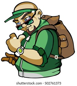 cool man with a backpack and a green sweatshirt