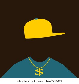cool man wearing gold chain and hip hop clothing