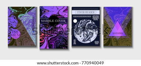 Cool Marble Covers Set Funky Elegant Suminagashi Painting Background Trendy Book Report