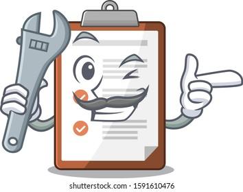 Cool Mechanic clipboard Scroll cartoon character design