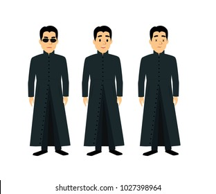 Cool men  in flat style isolated on white background