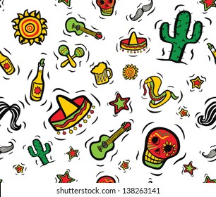 Cool Mexican Stuff Seamless Pattern