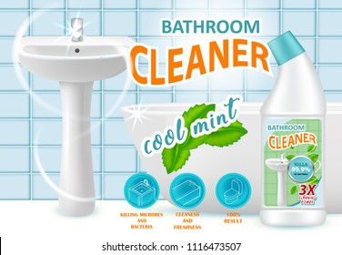 Cool mint bathroom cleaner ad design template. Vector realistic illustration. Liquid cleaning product killing bacteria brand advertising poster.