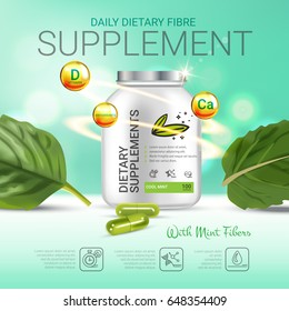 Cool mint dietary supplement ads. Vector Illustration with honey supplement contained in bottle and mint leaves elements. Poster.