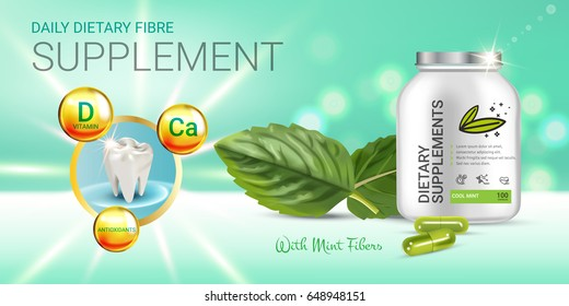 Cool mint dietary supplement ads. Vector Illustration with honey supplement contained in bottle and mint leaves elements. Horizontal banner.
