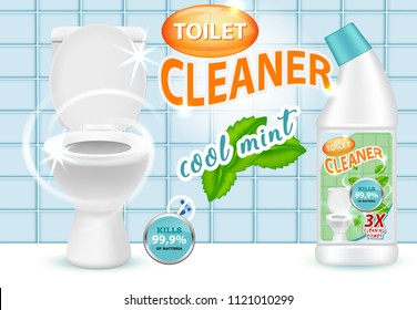 Cool mint toilet cleaner ad design template. Vector realistic illustration. Liquid cleaning product killing bacteria brand advertising poster.