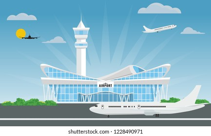 Cool modern airport building in flat and solid color style. Vector illustration.