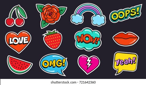 Cool modern colorful patch set on black background. Fashion patches stickers of cherry, strawberry, watermelon, lips, rose flower, rainbow, hearts, comic bubbles, stars. Cartoon 80s-90s pop art style.