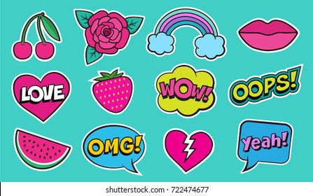Cool modern colorful patch set on green background. Fashion stickers of cherry, strawberry, watermelon, lips, rose flower, rainbow, hearts, retro comic bubbles, stars . Cartoon 80s-90s pop art style