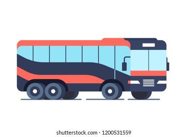 Cool modern flat design public transport vehicle intercity longer distance tourist coach bus, side view, isolated. Flat design.
