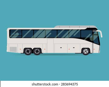 Cool modern flat design public transport vehicle intercity longer distance tourist coach bus, side view, isolated