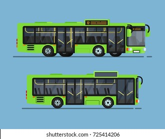 Cool modern flat design public transport. city bus
