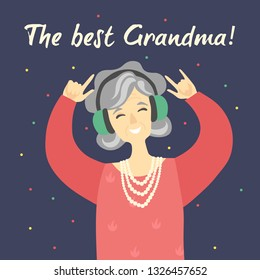 Cool modern funny grandmother is listening music. Vector flat cartoon illustration