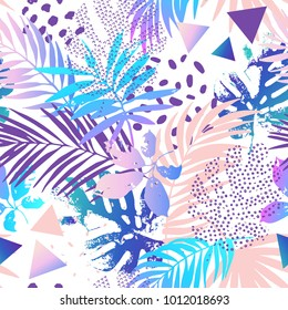 Cool modern illustration with tropical leaves, grunge textures, doodles, geometric, minimal elements. Creative gradient seamless pattern. Abstract vector art background