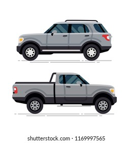 Cool modern large SUV and pickup truck off road four wheel drive vehicles vector illustration | 4WD car isolated transportation traffic graphic element in trendy flat design
