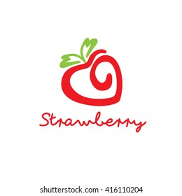 Cool modern strawberry icon logo vector illustration isolated over white background