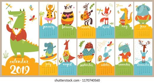 Cool modern style cartoon vector 2019 calendar with funny wild animals