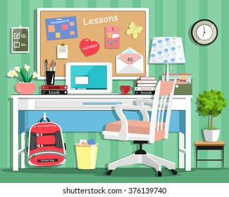 Cool modern teenager room with workplace: table, chair, board, lamp, school bag, laptop, stationery and books. Flat style vector illustration