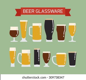 Cool modern vector flat design on draught beer glassware. Ideal for graphic and motion design in bars and restaurants industry. Featuring stout, lager, porter, ale, pilsner and other beer glasses