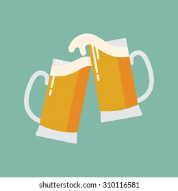 Cool modern vector flat design icon on clink beer mugs | Minimalistic web icon on celebration with beer colliding and spilling out with foam